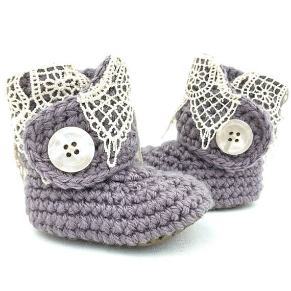 3ff679cfb15e3 Pastel Purple Booties, Lacey Baby Boots, Dressy Baby Shoes, 6-12 ...