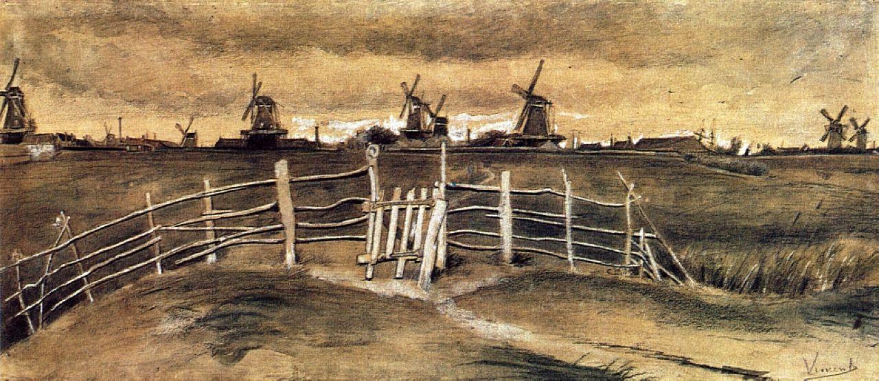 Windmils At Dordrecht Artist Vincent Van Gogh Completion Date