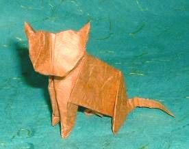 Origami Cat by John Montroll folded by Gilad Aharoni