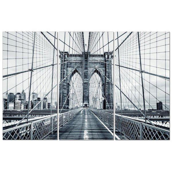 NYC Brooklyn Bridge City MULTI CANVAS WALL ART Picture Print VA