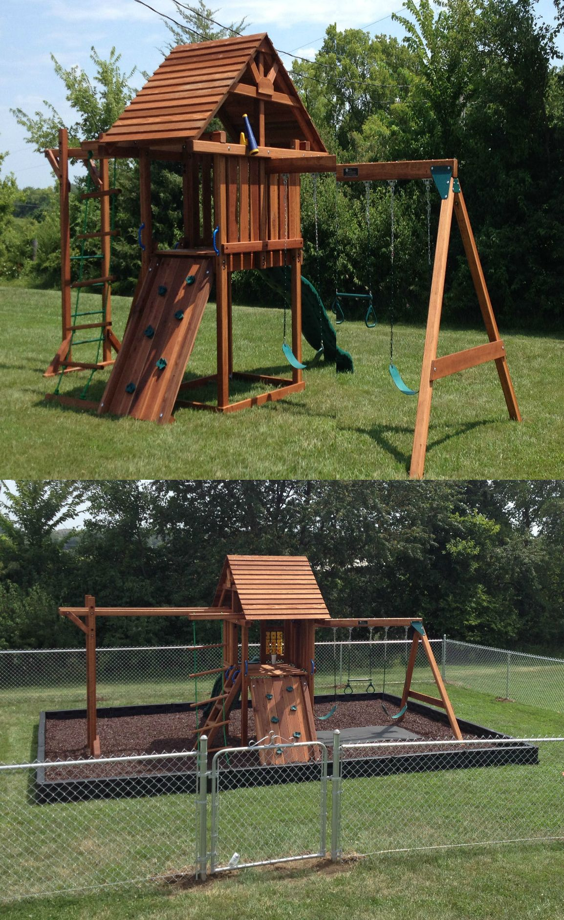 Before and after playground safety using rubber mulch