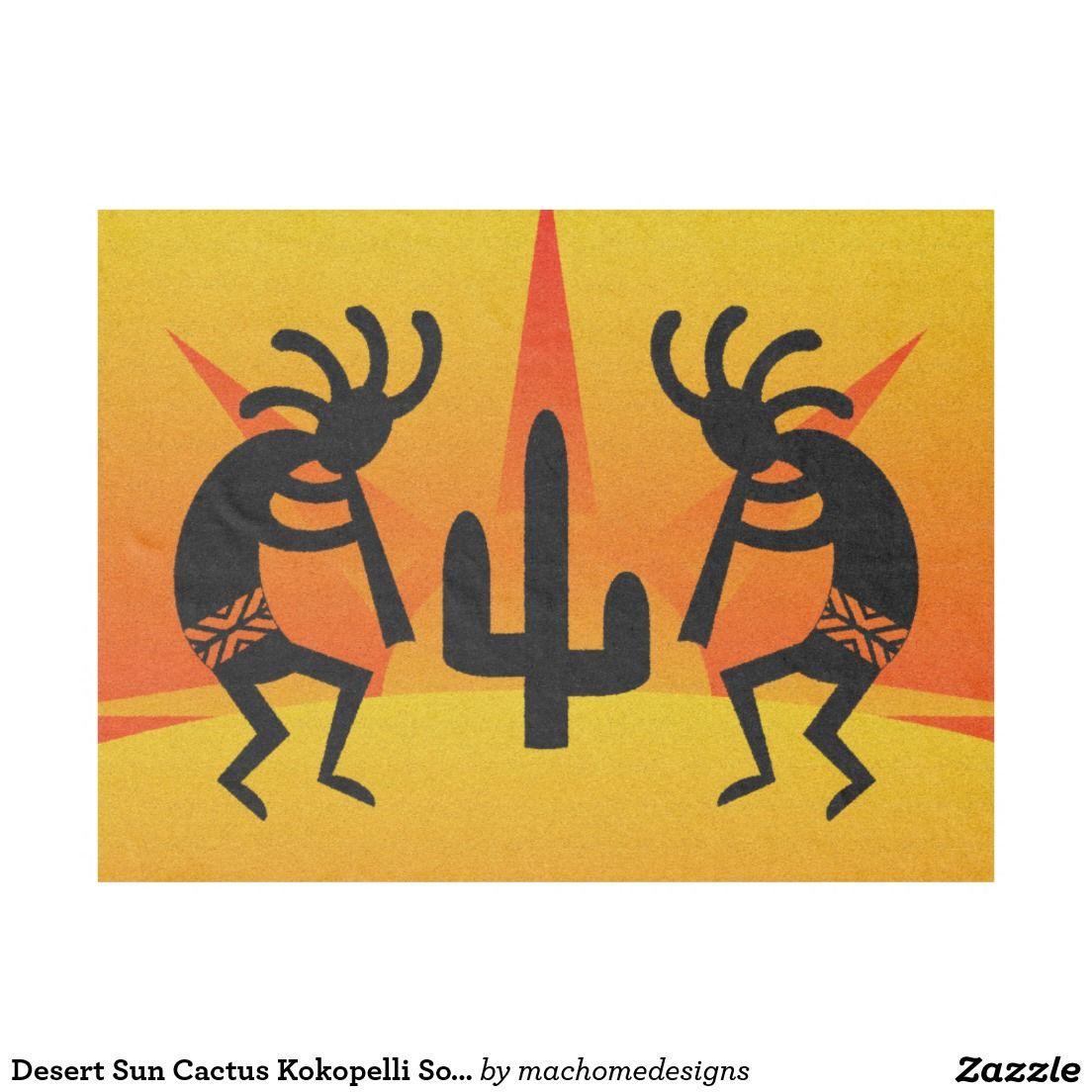 Desert Sun Cactus Kokopelli Southwest Tribal Fleece Blanket | Cacti ...