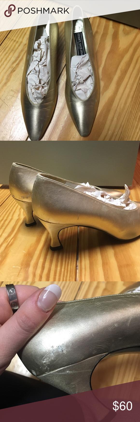 Stuart Weitzman Heels Gold tone, Stuart weitzman pumps, size 8, vintage, little wear on one side Stuart Weitzman Shoes Heels