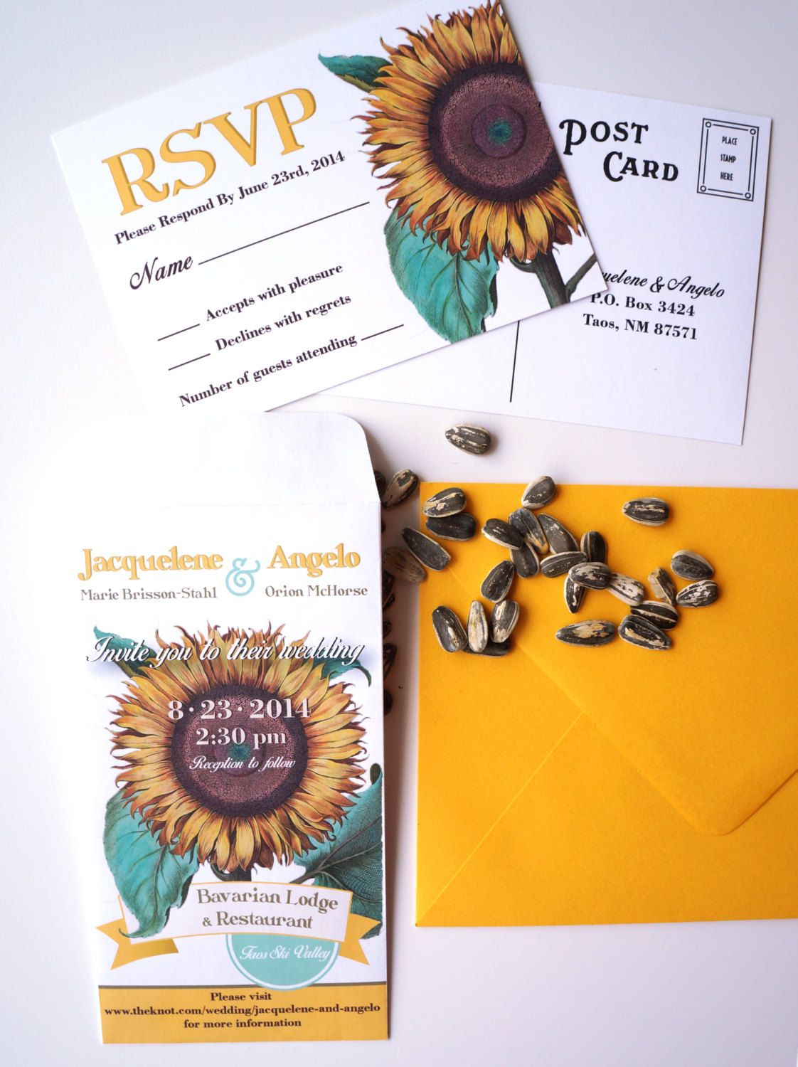 Sunflower Seed Packet Wedding Invitation with RSVP