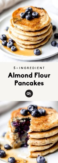 Fluffy almond flour pancakes with only 5 ingredients: almond flour, baking soda Fluffy almond flour pancakes with only 5 ingredients: almond flour, baking soda,... -