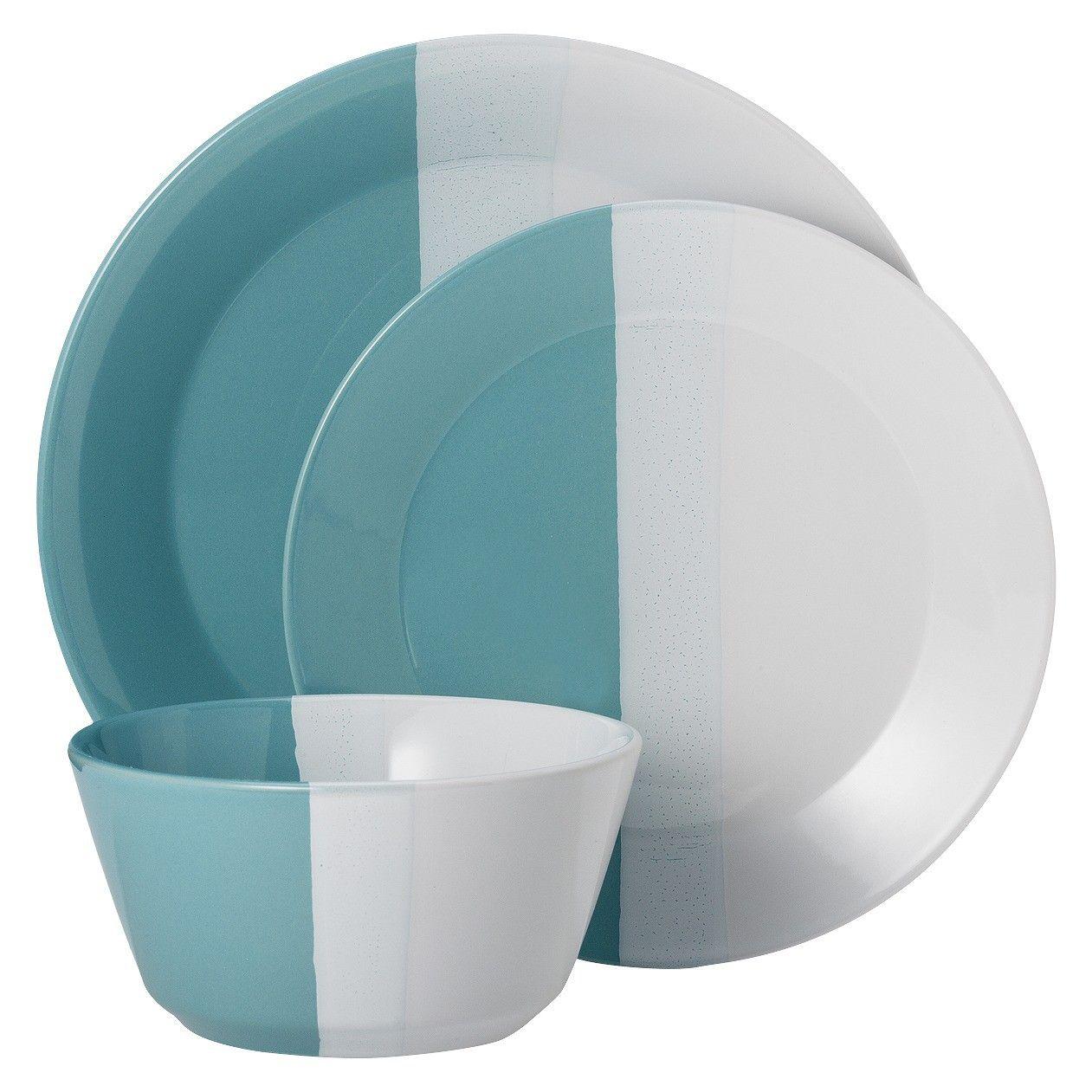 Room Essentials Tri Band 12 Piece Dinnerware Set Target