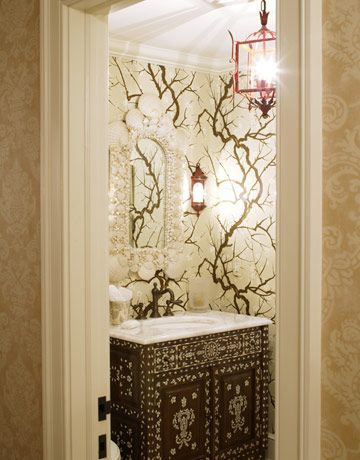 Powder rooms on pinterest for Powder room wallpaper ideas
