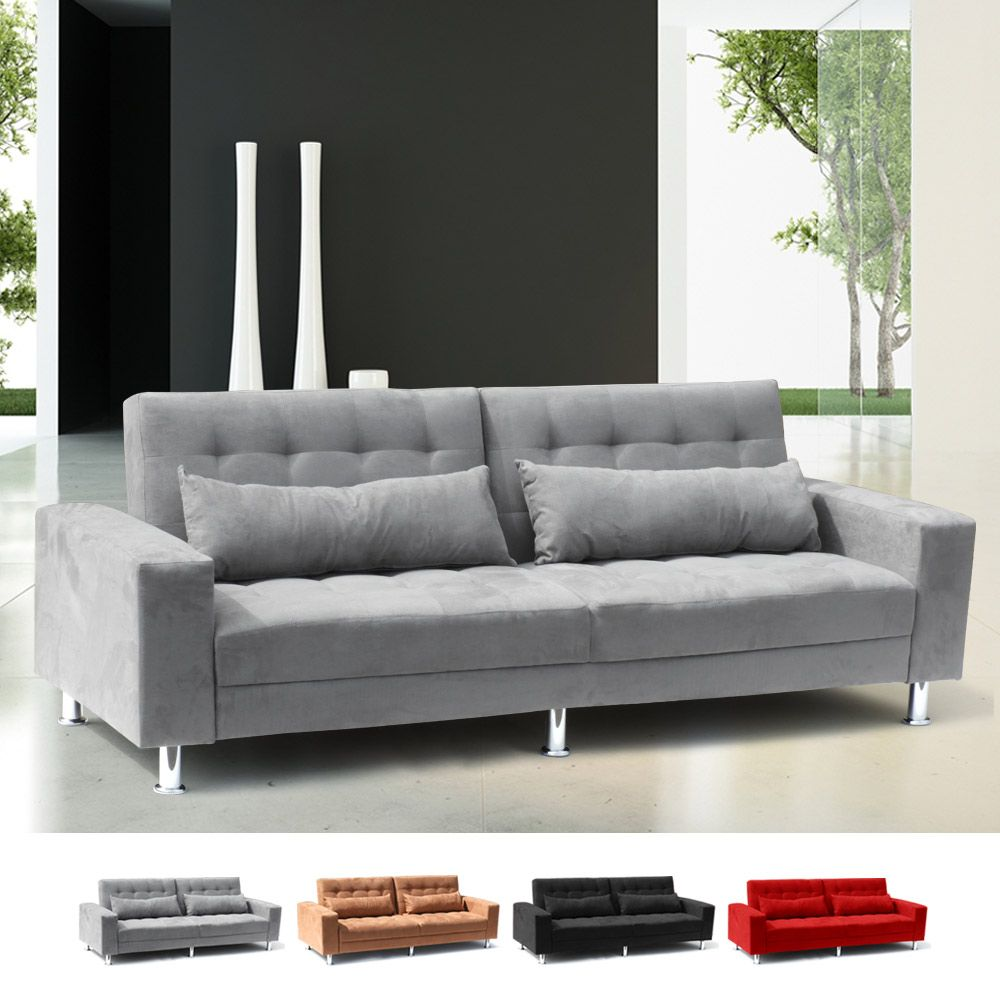 Remarkable Sofa Bed 2 3 Seats With Armrests And Cushions In Microfiber Frankydiablos Diy Chair Ideas Frankydiabloscom