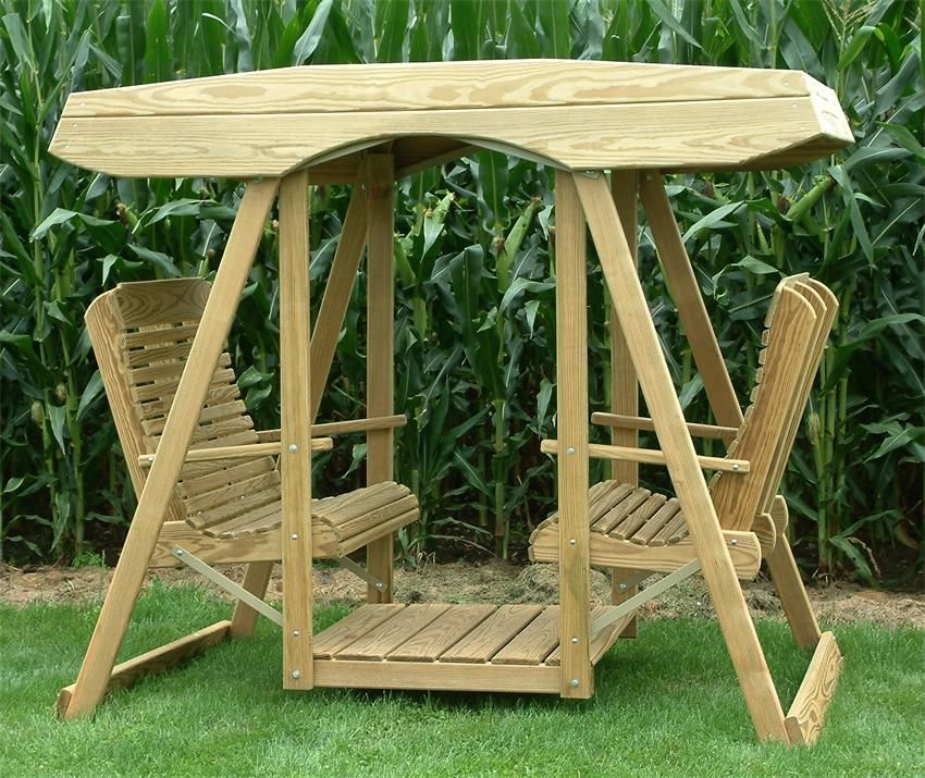 Amish Pine Double Lawn Swing Glider With Canopy Lawn Swing