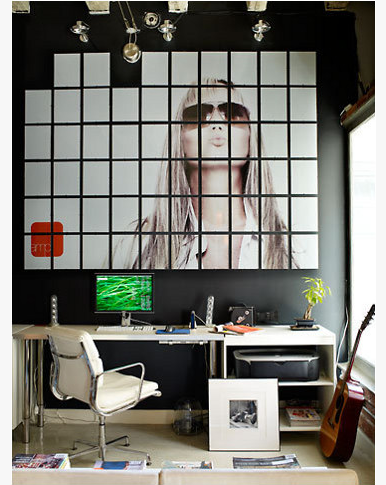 Designed by Marie Olsson Nylander, Large wall art, White office furniture, Black office wall, photography editing studio, contrasting colors, clean design.