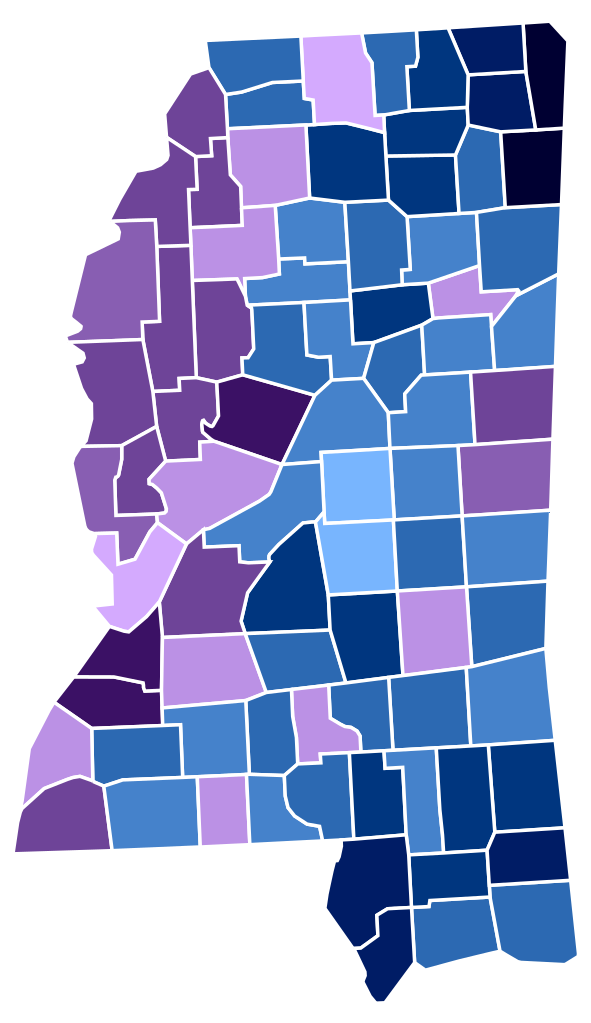 Mississippi racial and ethnic map purple Black ; blue