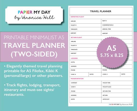 Minimalist A5 Filofax Travel Planner This Minimalist A5
