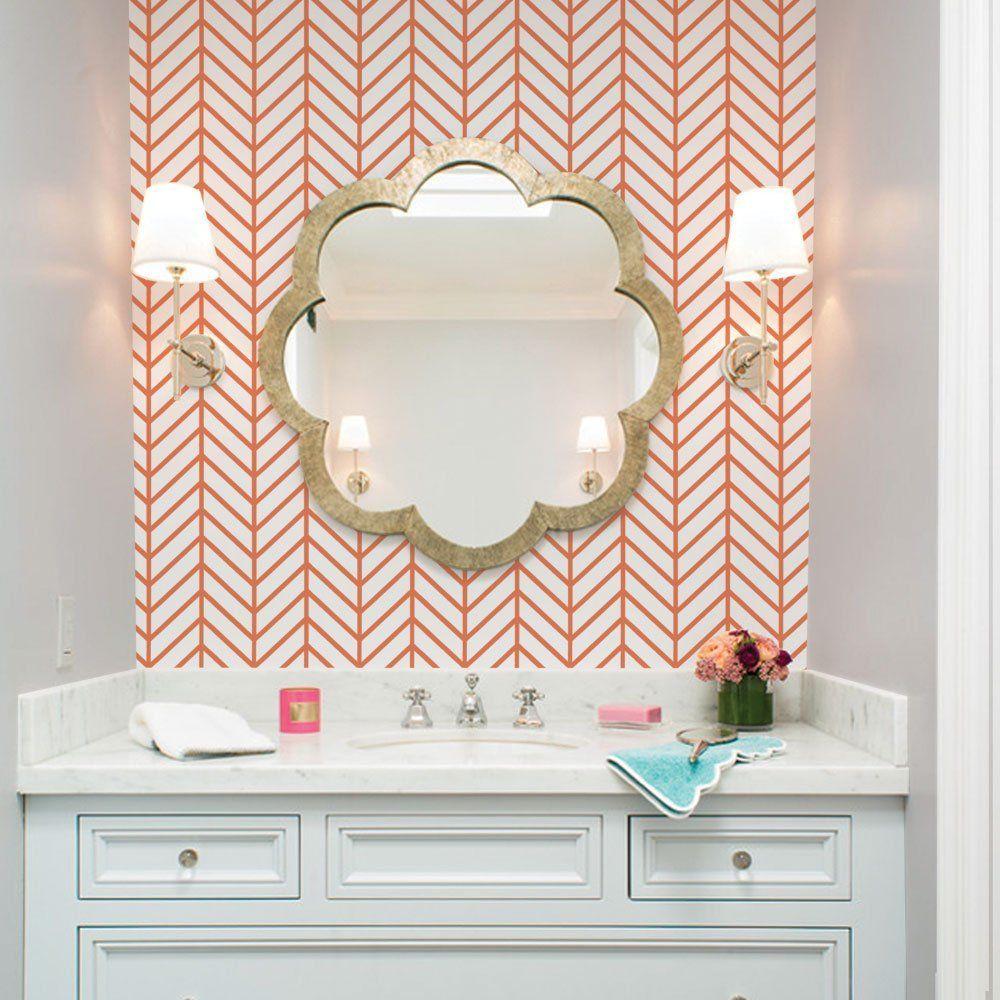 Herringbone Line Wallpaper   Orange   2 Ft X 4 Ft   Single   By Simple