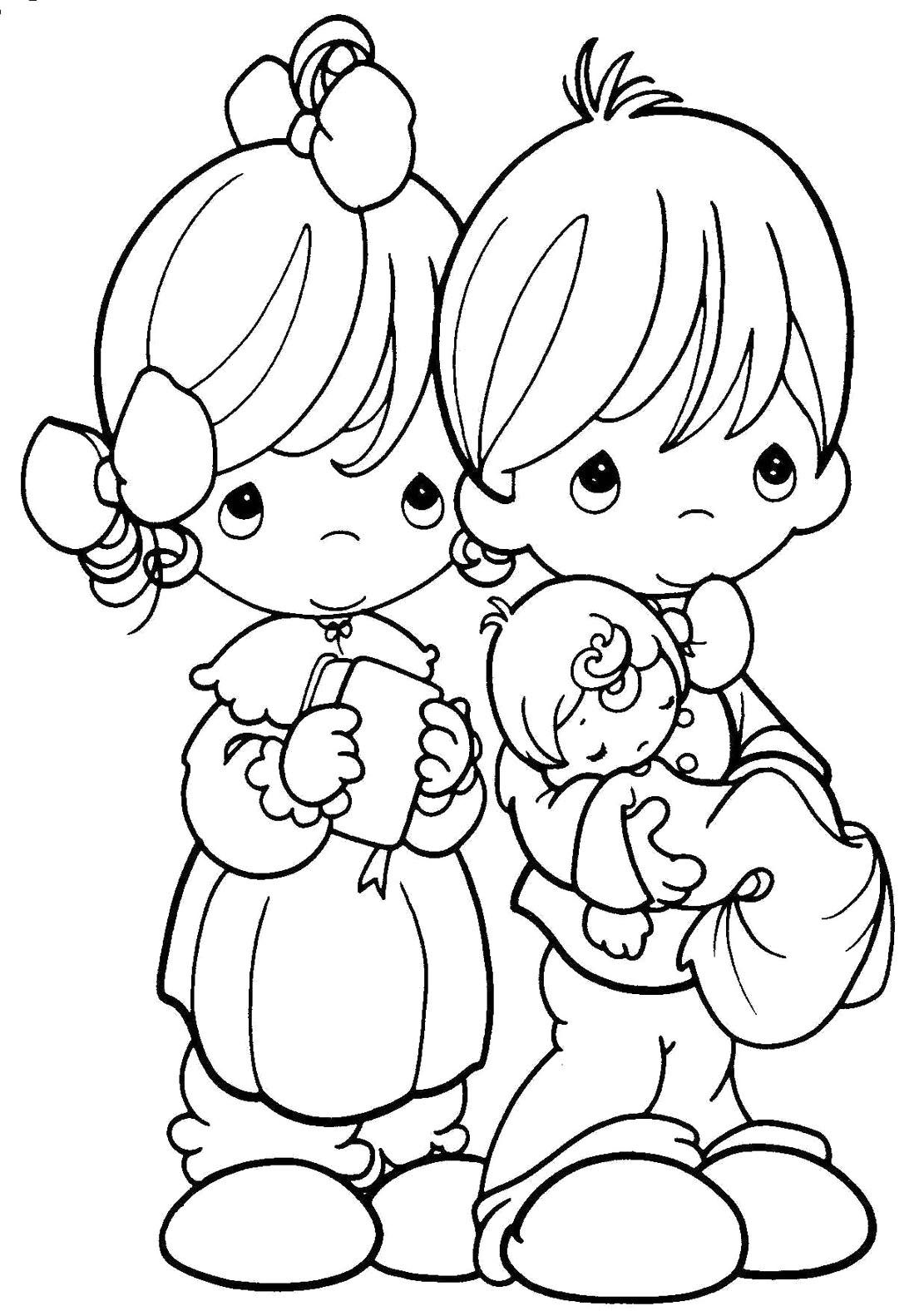 Precious moments are always happy always coloring pages ระบายส