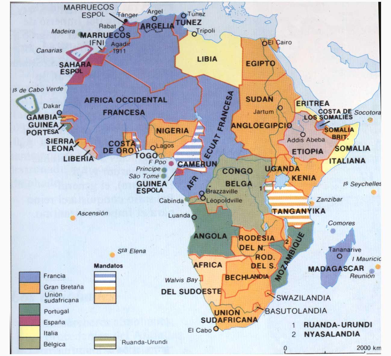 Africa Cartografia Paises Colonizados En Africa