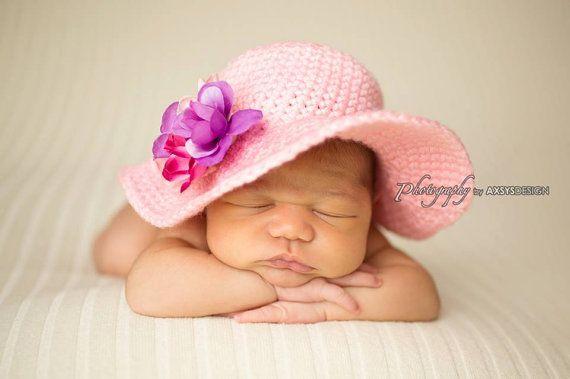 Crochet Newborn Baby Girl Spring Sunhat 44d771e0878