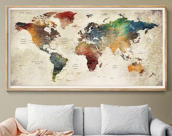 World Map Wall Art, world map push pin, Large watercolor wall art worldmap poster wall decor art print, Living room and office decor (L101) #worldmapmural
