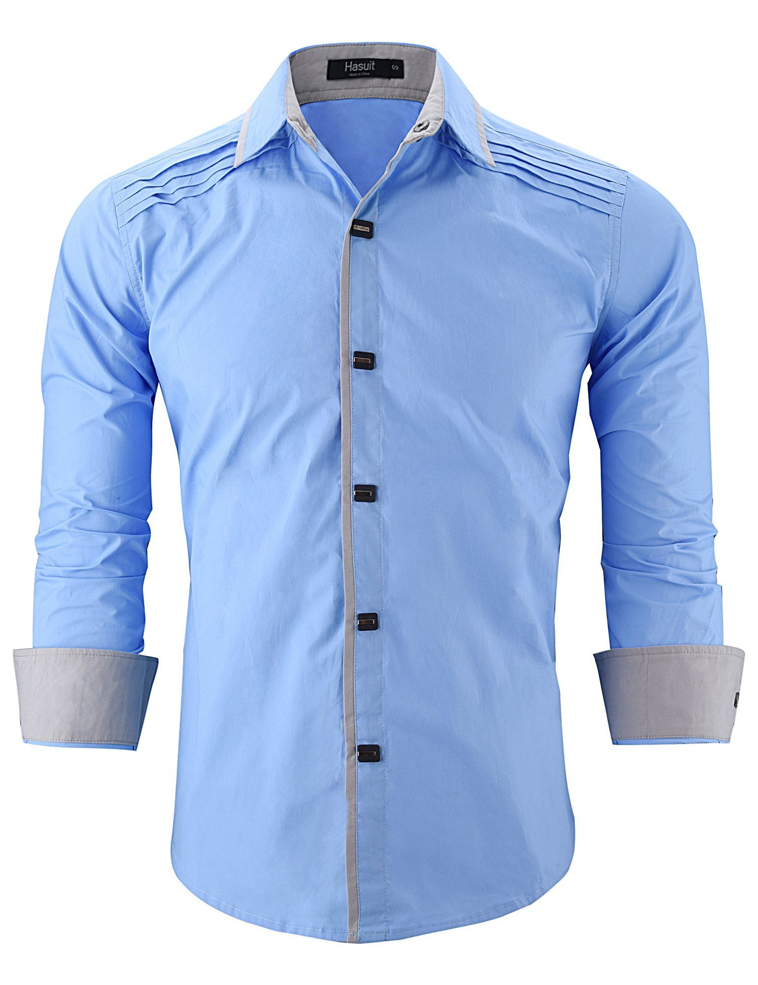 Hasuit Mens Casual Denim Button Down Shirt Long Sleeve Dress Shirts
