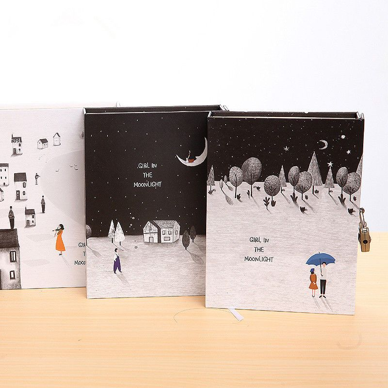 Moon Girl 1pc Big Hard Cover Notebook Lock Box Diary Colored