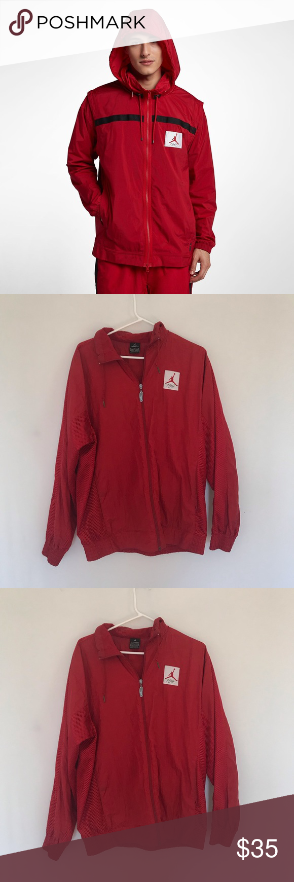 c0803251a92 Red Jordan jacket Men's red Jordan jacket in great condition! Feel free to  reach out with any questions! Jordan Jackets & Coats Windbreakers
