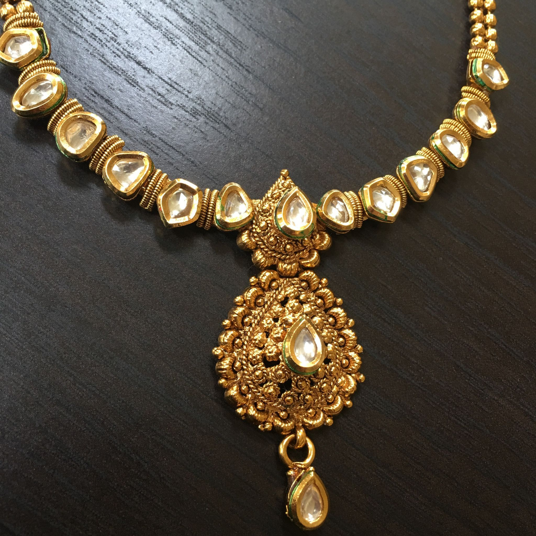 Delicate kundan necklace with pearl drop pendant pinterest
