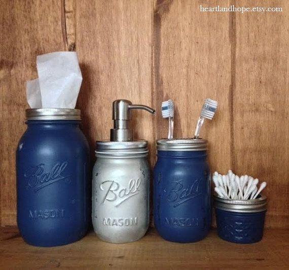 Dallas cowboys mason jar bathroom accessories by for Bathroom accessories jars