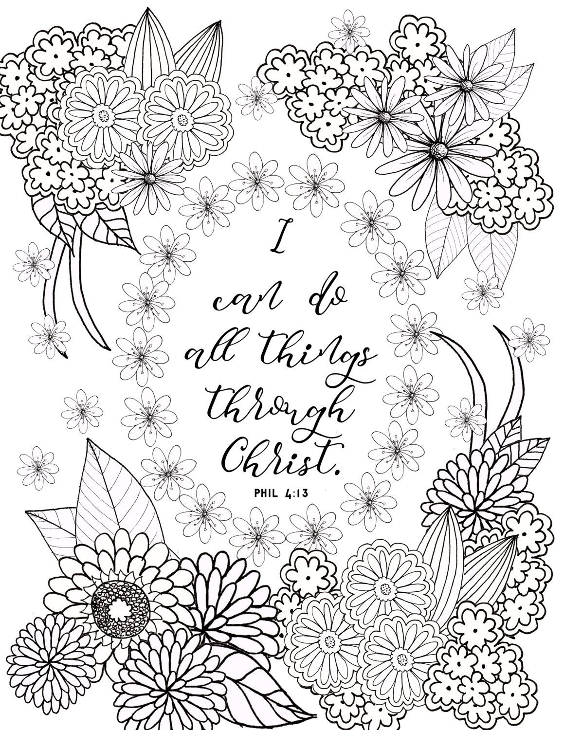 philippians 4 13 coloring page bible verse by fourthavepenandink