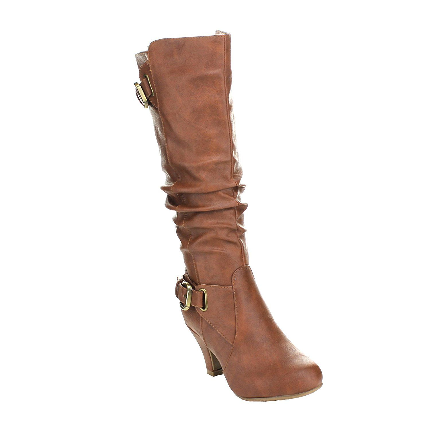 Top Moda Womens Bag-55 Knee High Buckle Slouched Kitten Heel Boots ** This is an Amazon Affiliate link. You can find more details by visiting the image link.