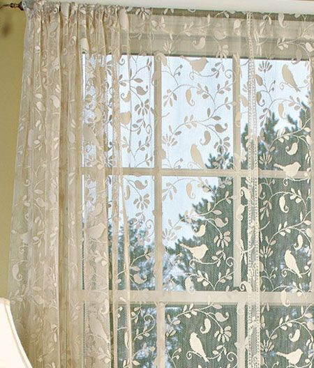 Additional Views Bird Song Lace Rod Pocket Panel Country Curtains Curtains Bird Curtains