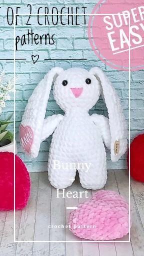 Bunny and heart crochet patterns, easy crochet Eas