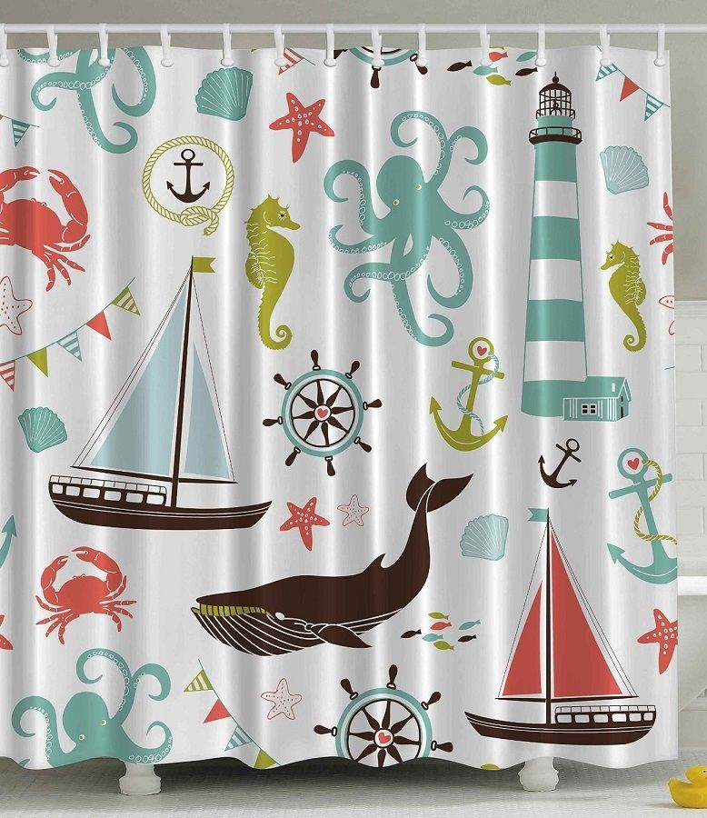 Sea Life Nautical Shower Curtain With Images Nautical Shower
