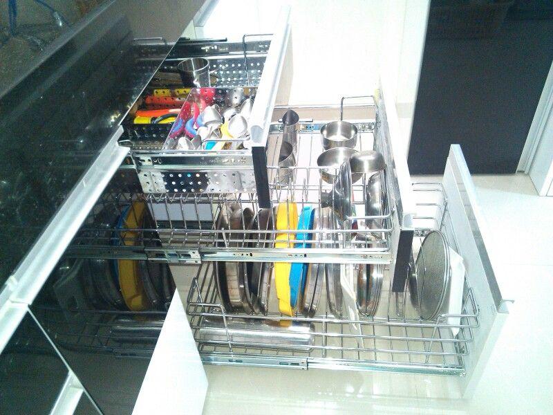 Cutlery Cup Saucer Thali Plait Baskets Set For Modular Kitchen Accessory S For Modular Kit Black White Kitchen Kitchen Furniture Design Kitchen Interior