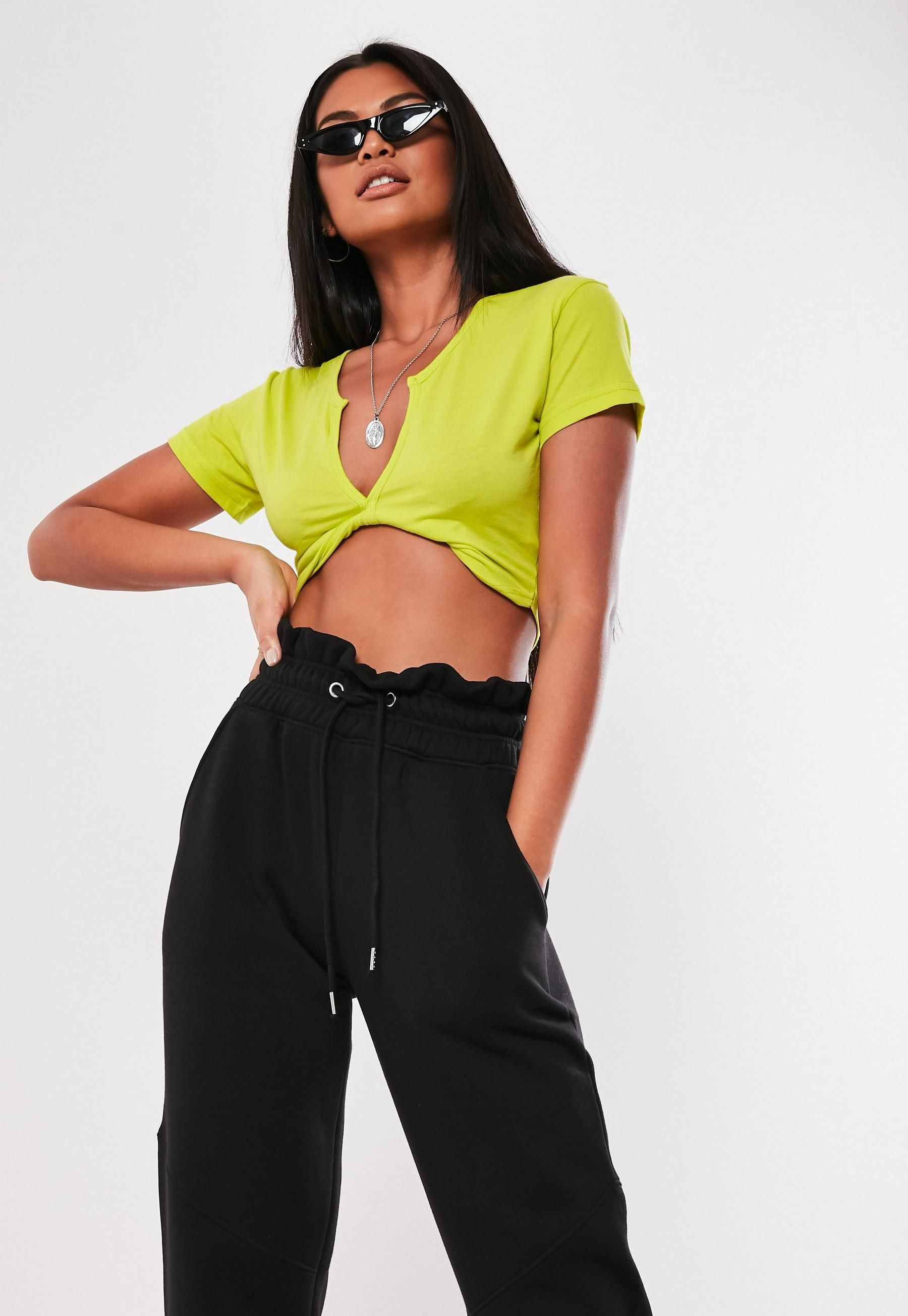 384b7ac2f5 Missguided - Neon Lime Short Sleeve V Neck Crop Top in 2019 ...