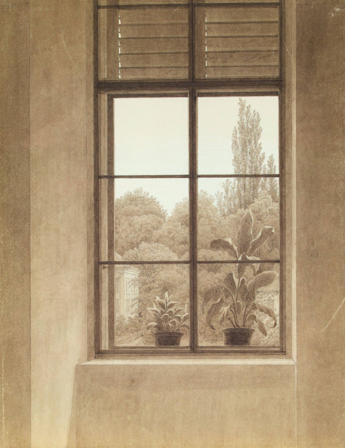 Caspar David Friedrich (German, 1774-1840). Window Looking over the Park, ca. 1837