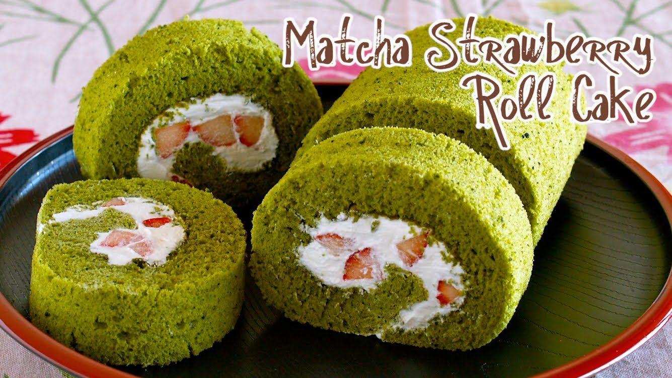 Matcha Strawberry Roll Cake (Japanese Swiss Roll Recipe