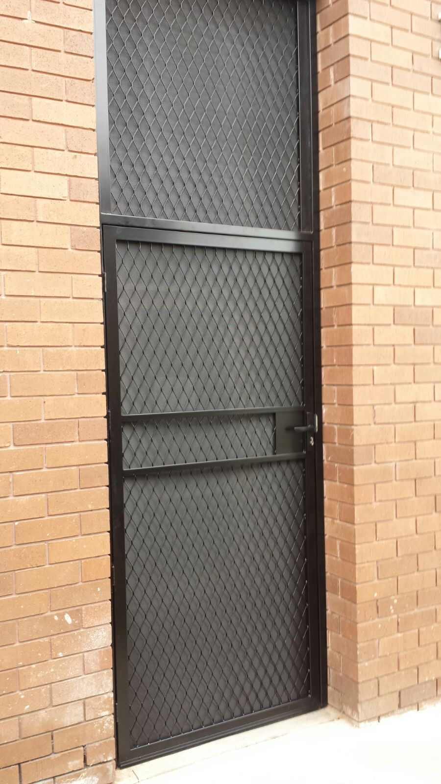 Steel Security Door Enclosure With One Way Vision Mesh Installed In Mordialloc In 2020 Steel Doors Steel Security Doors Grill Door Design