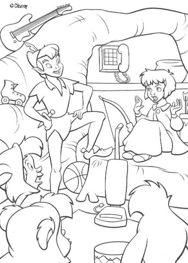 Peter Pan coloring pages - Peter Pan and Wendy