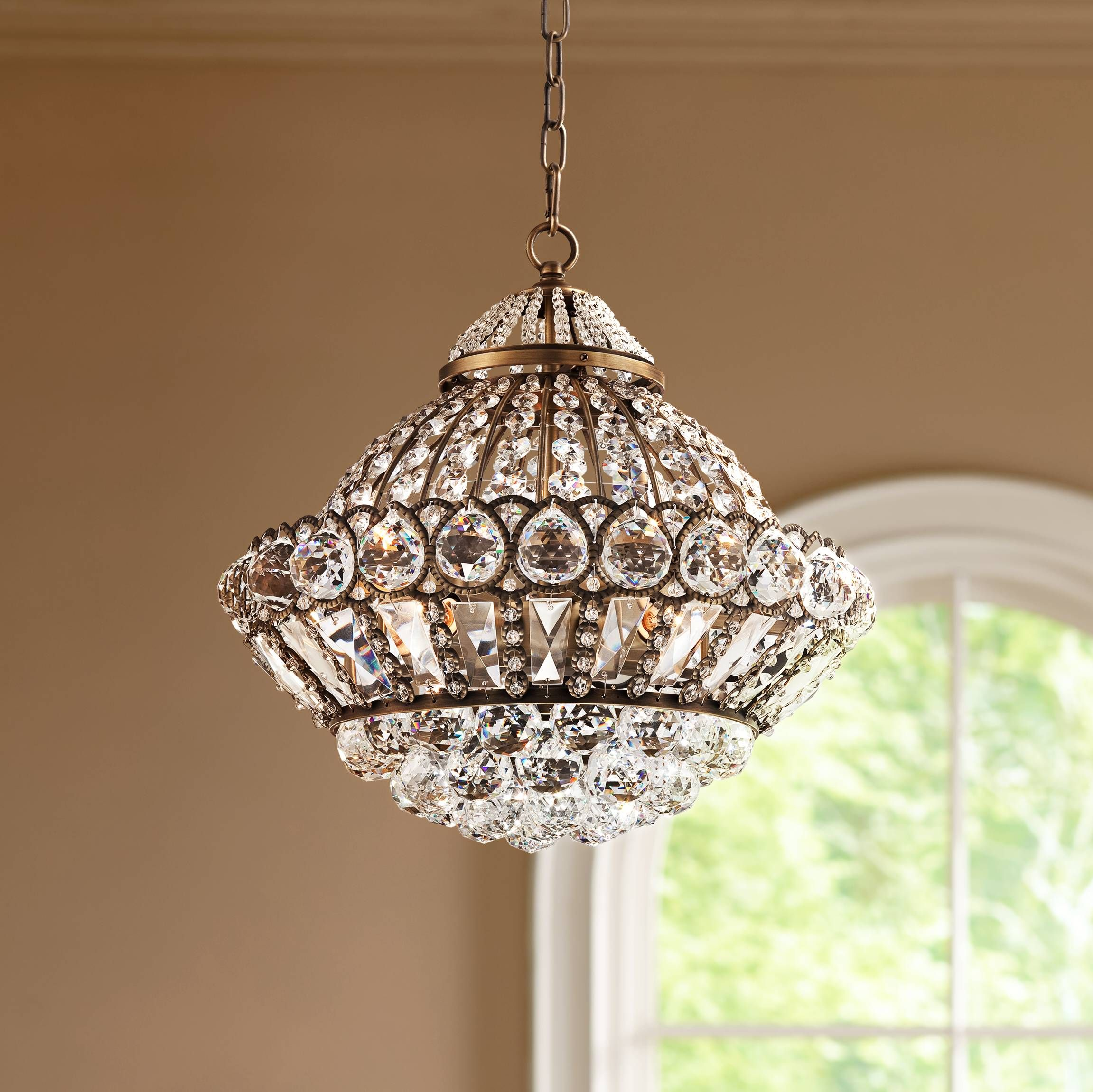 "Wallingford 16"" Wide Antique Brass and Crystal Chandelier W6879"