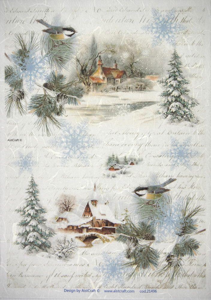 Rice Paper Winter Villages large for Decoupage Scrapbook Sheet