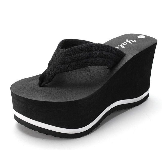 94cda3b8d Sola grossa Plataforma Feminina Chinelos de Praia Das Mulheres Sapatos de  Senhora Cunhas Flip Flops chinelos Sapatos Mulher Sandalias plataforma  Chanclas