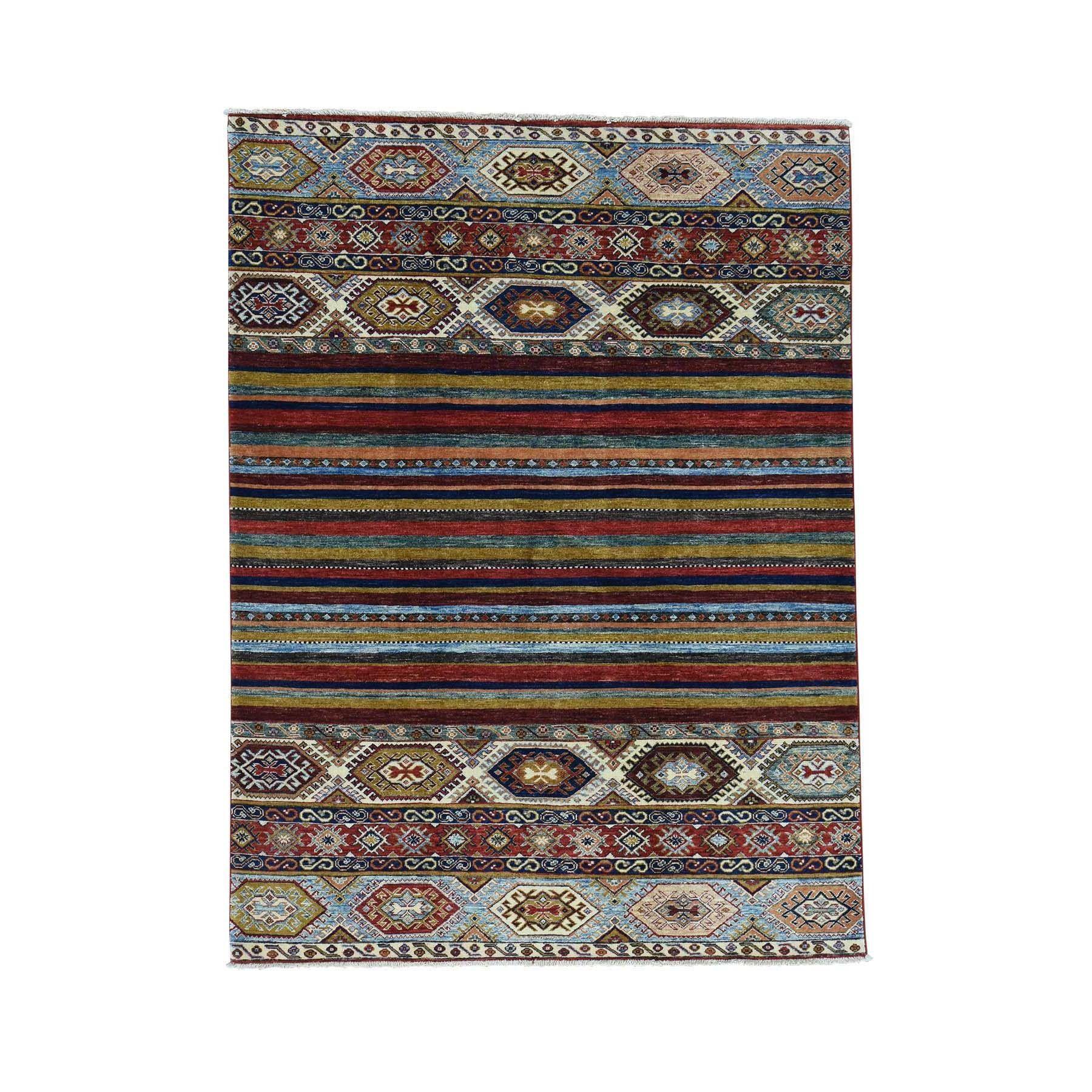 "1800getarug Handmade Super Kazak Khorjin Design Pure Wool Oriental Rug (5'0x6'8) (Exact Size: 5'0"" x 6'8""), Multi, Size 5' x 7'"