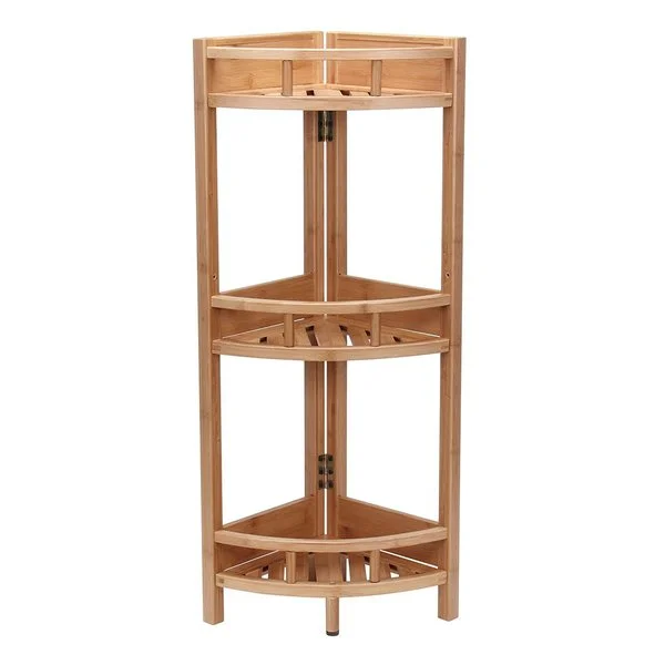 Bamboo 3 Tier Corner Storage Shelf 35 X 11 X 11 Inches Natural Beige Corner Storage Unit Shelves Corner Shelf Unit