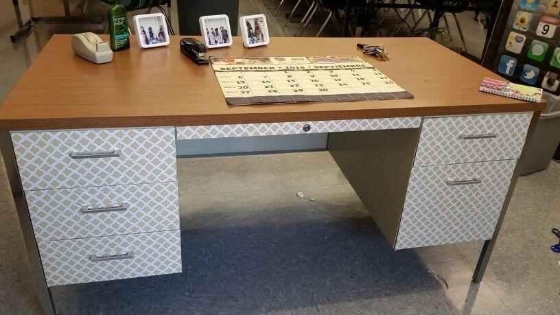 After Desk Makeover Using Contact Paper Desk Makeover Desk