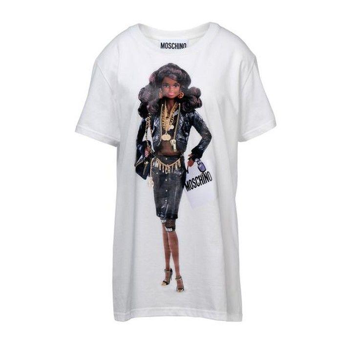 Moschino Barbie Black Hair Girl Womens Short Sleeve T Shirt White T Shirt Branca Moschino T Shirt