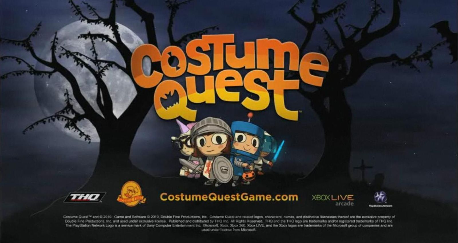 """Promo wallpaper for DoubleFine / THQ's Halloween-themed RPG """"Costume Quest,"""" released for PC and Xbox360 in 2010"""