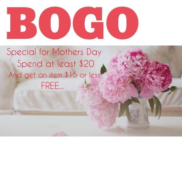 SALE ENDS ON Sunday (MAY 8th) BOGO SPECIAL Truly a GREAT sale!! Buy any item minimum of $20 and receive another item of your choice $15 or less as an additional gift!✨ buy mom a gift & get one for yourself!! Let me know and I will gift wrap & add special touches & even a mini blank card (limited quantities-while supplies last). Amazing deal will expire on Sunday evening Other