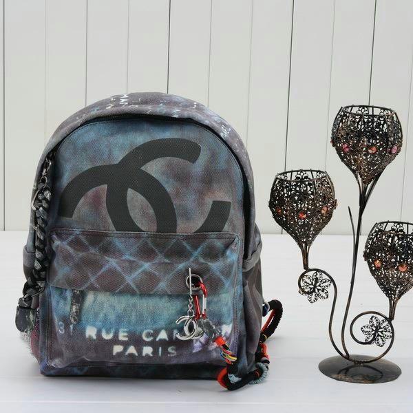 c6a3599573ab Chanel 31 Rue Cambon Paris Graffitti Back Pack Blue w Silver Hardware