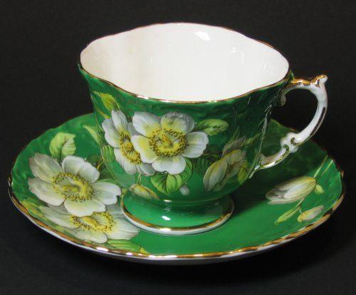 Aynsley Tea Cup Magnolia Blossom Green Relief