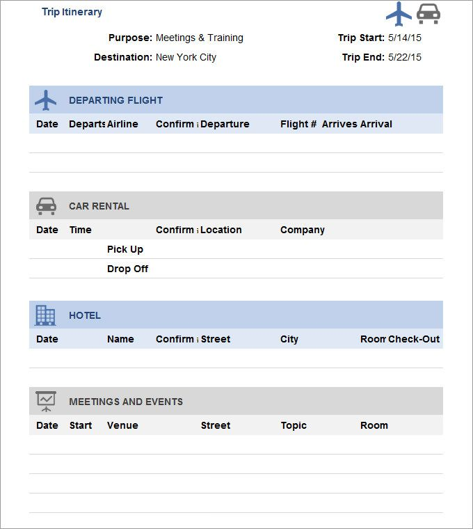 26 Trip Itinerary Templates Pdf Doc Excel