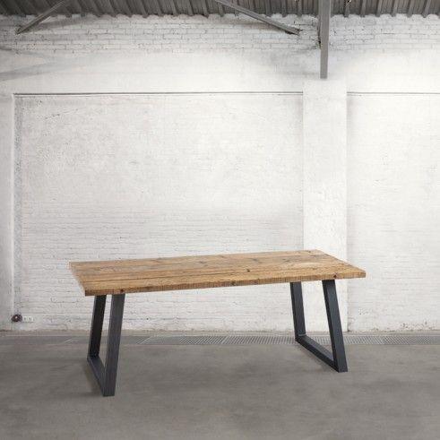 Tavolo con piano in tavole di legno zampe acciaio tavoli for Tavole da pranzo